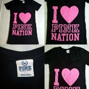 Pink Nation Victoria's Secret Love Heart Tee Small